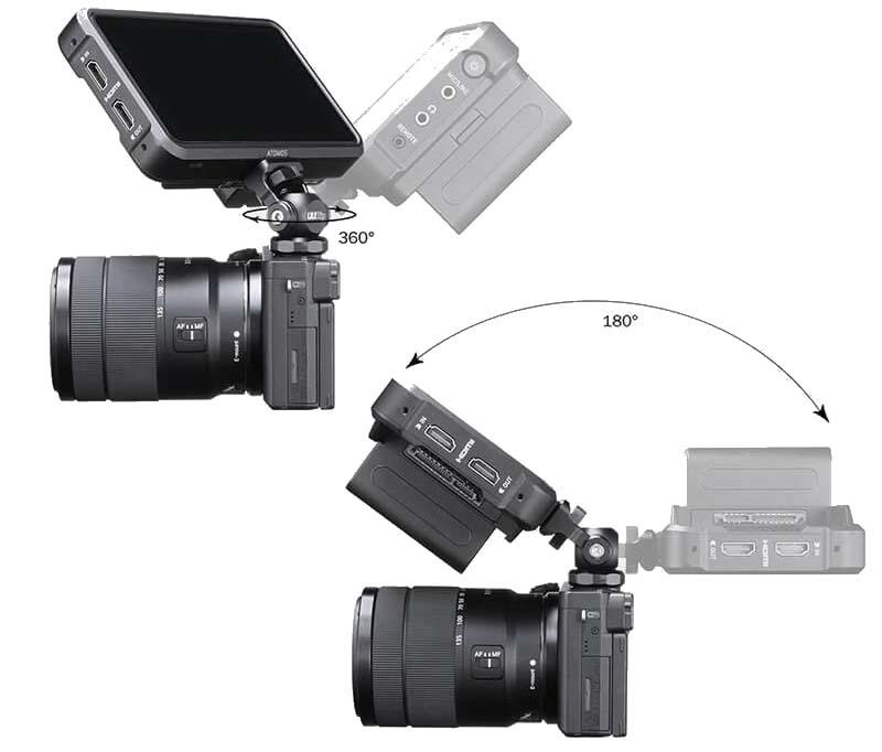 mocowanie na monitor poglądowy na zimnej stopce do gimbala kamery