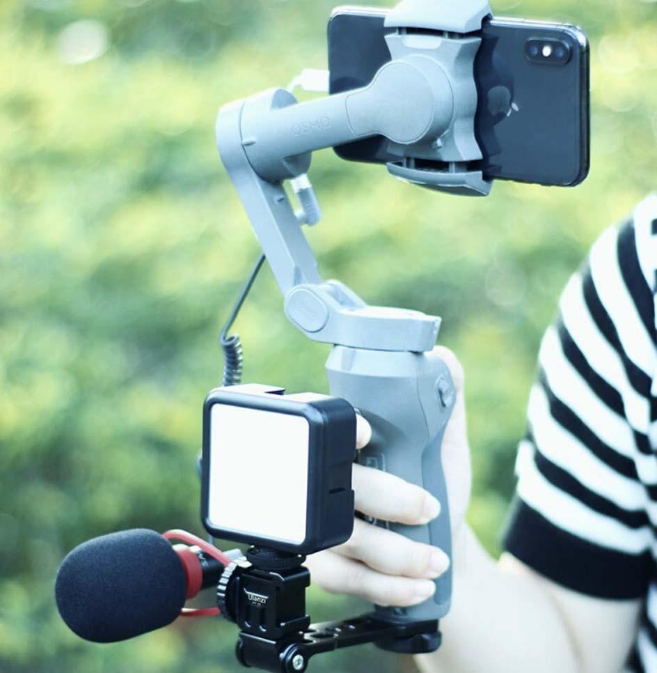 mocowanie mikrofonu i lampy do uchwytu na telefon dla vlogera